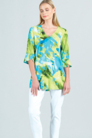Clara Sunwoo Watercolor Print, V-Neck, Tulip Sleeve Tunic - Product Mini Image
