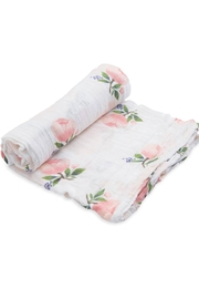 Little Unicorn Watercolor-Rose Cotton Swaddle - Front cropped