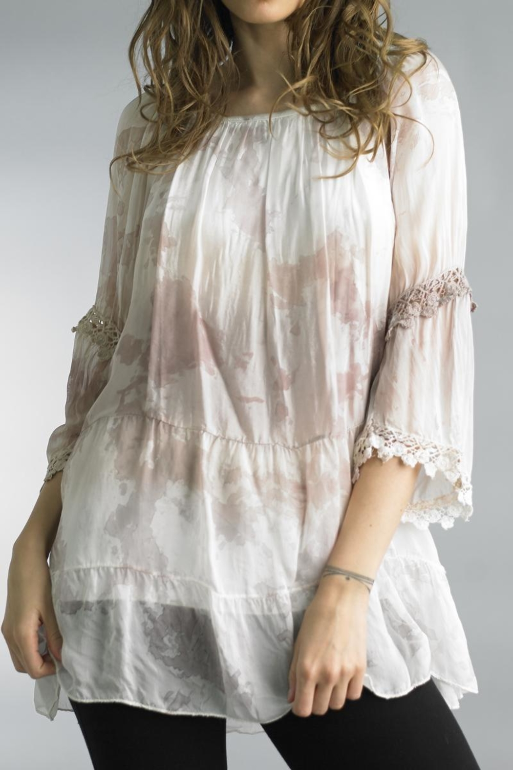 Tempo Paris Watercolor Silk Blouse - Front Cropped Image