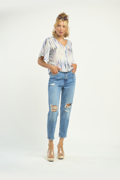 Dex Watercolor Smocked Wrap Blouse - Product List Image