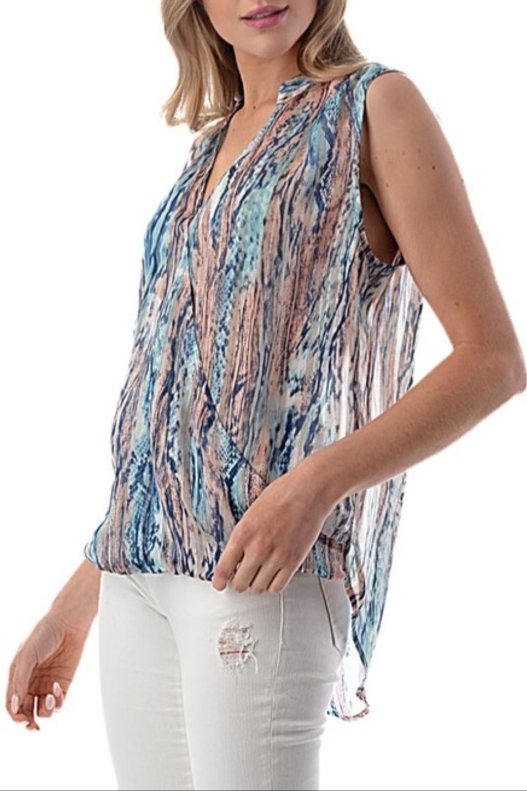 Ariella Watercolor Surplice Top - Front Full Image
