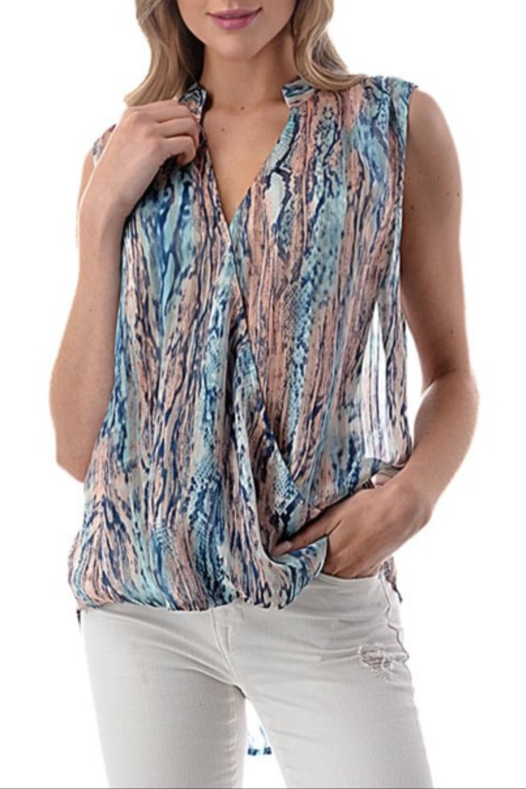 Ariella Watercolor Surplice Top - Main Image