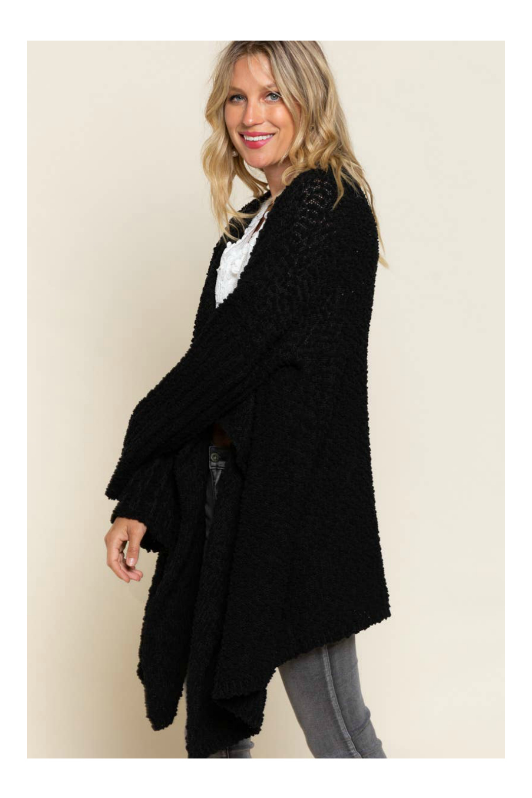 Pol Clothing Waterfall Cardigan Sweater - Side Cropped Image
