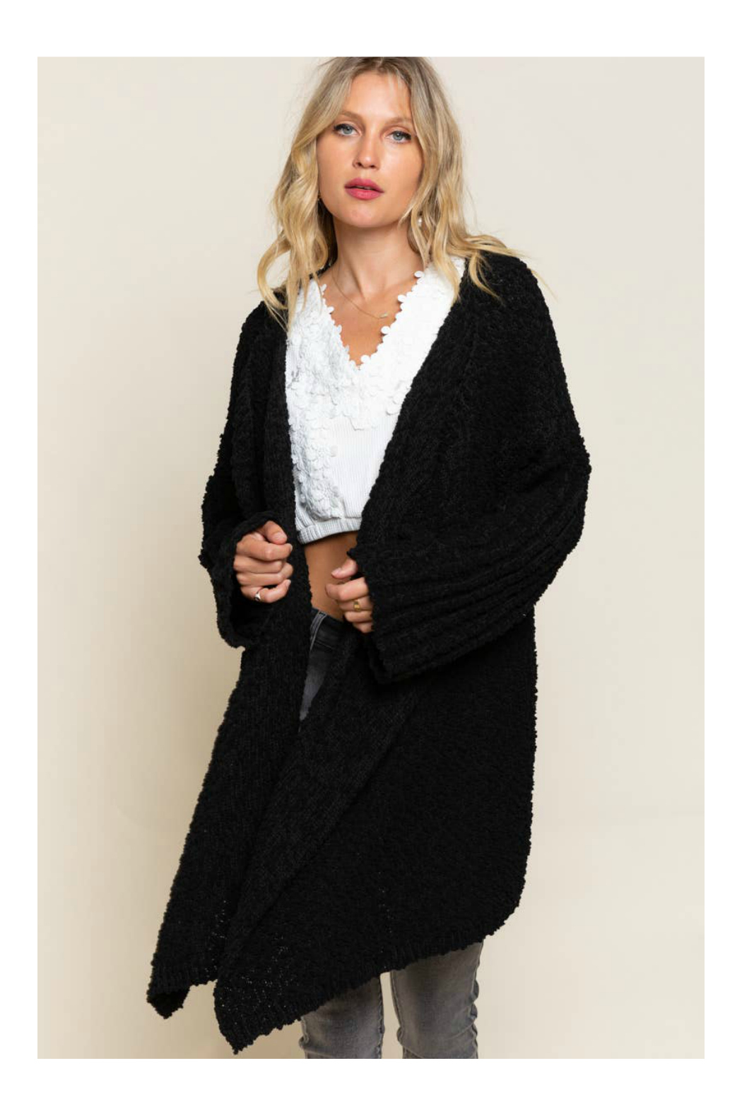 Pol Clothing Waterfall Cardigan Sweater - Front Cropped Image