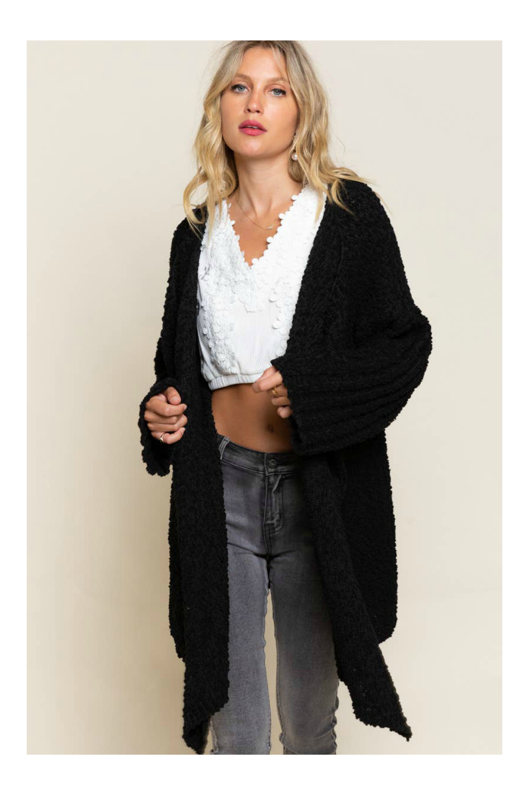 Pol Clothing Waterfall Cardigan Sweater - Back Cropped Image