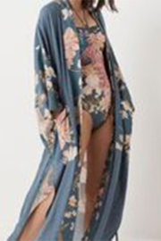 Spell  Waterfall Maxi Kimono in Deep Blue - Product Mini Image