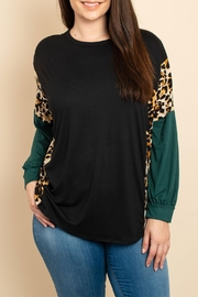 Watermelon Leopard Three-Tone Top - Front cropped