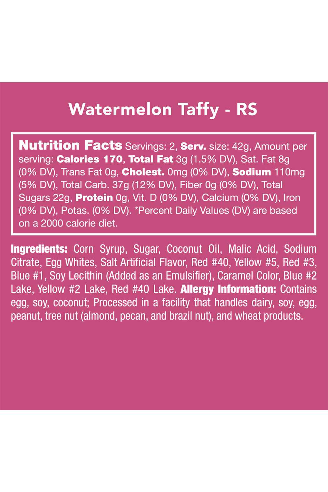 Candy Club Watermelon Taffy 3oz - Front Full Image