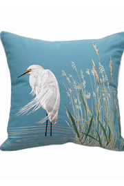 RIGHT SIDE DESIGN Waterside Snowy White Egret Indoor / Outdoor Pillow - Product Mini Image