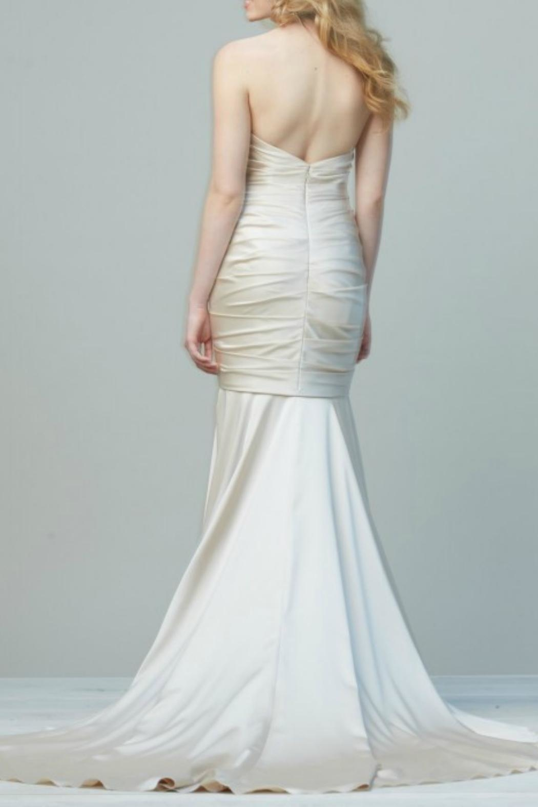 Watters Sweetheart Satin Mermaid Gown - Front Full Image