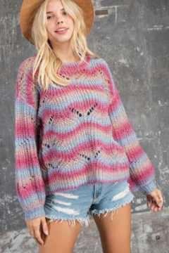 143 Story Wave Ombre Multi Stripe Sweater - Product List Image