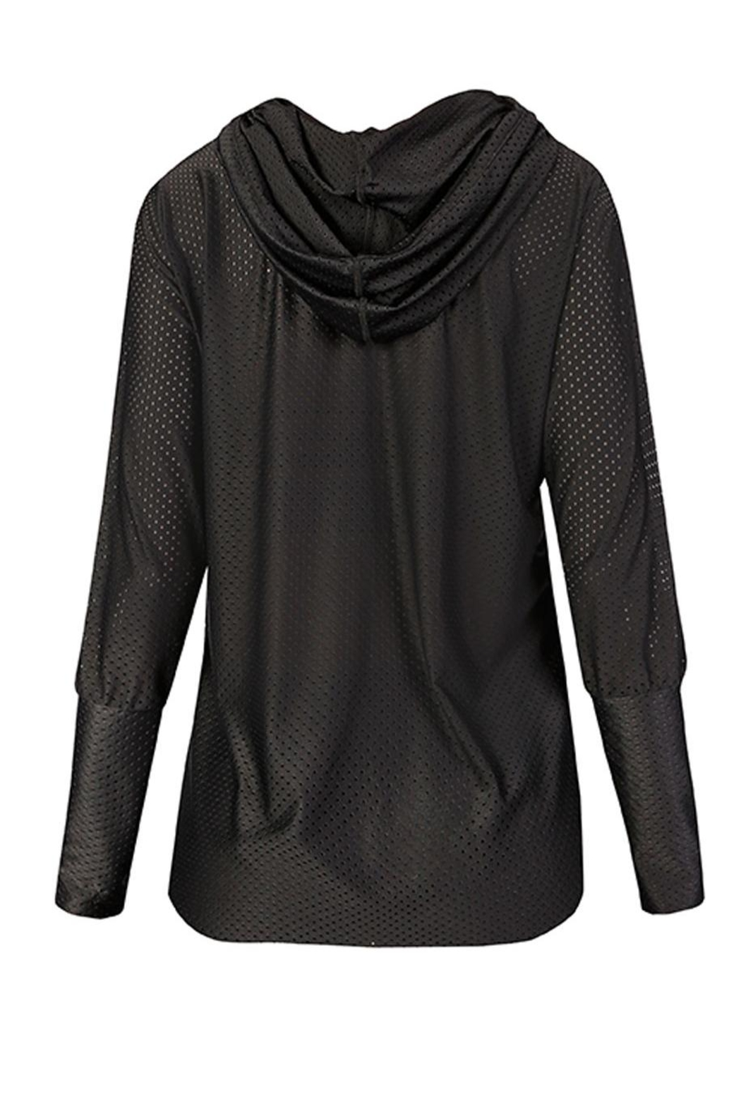 Maaji Waves Mesh-Black Hoodie - Back Cropped Image