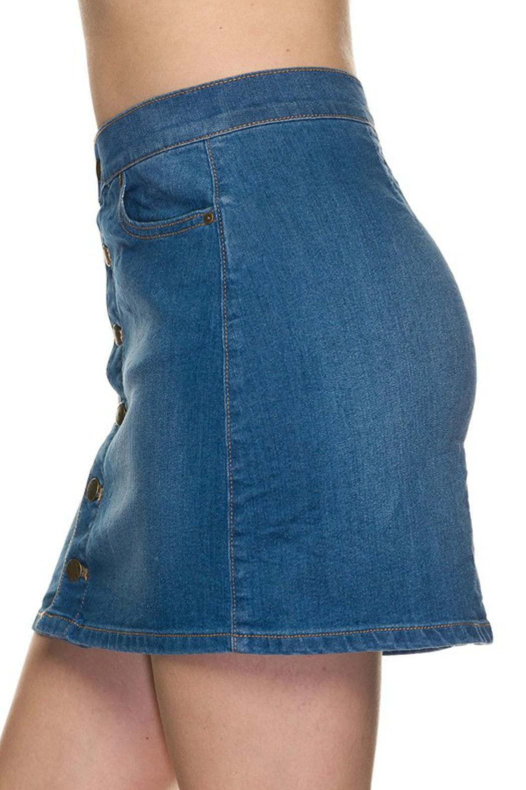 wax jean basic button denim skirt from fayetteville by