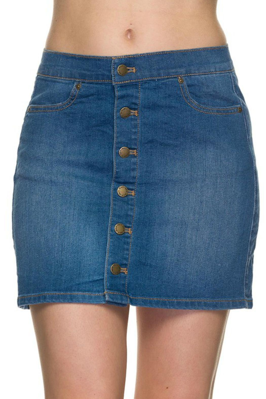 Wax Jean Basic Button Denim Skirt from Fayetteville by Gatsbyu0026#39;s Boutique u2014 Shoptiques