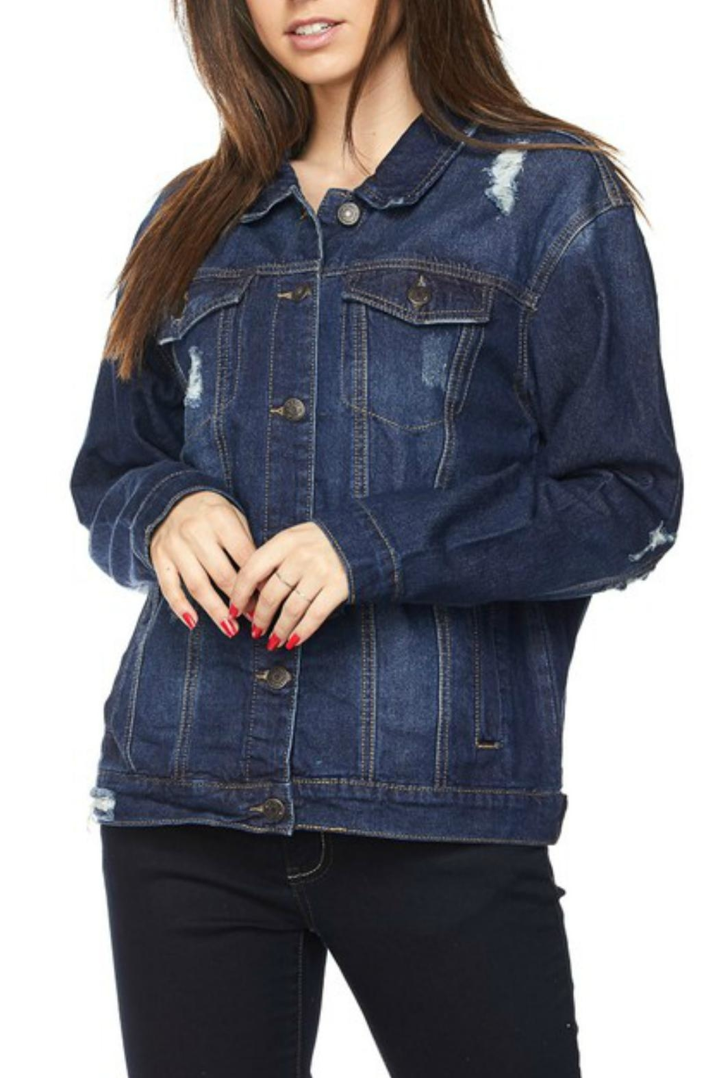 Wax Jean Distressed Denim Jacket - Front Full Image