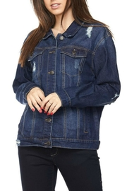 Wax Jean Distressed Denim Jacket - Front full body