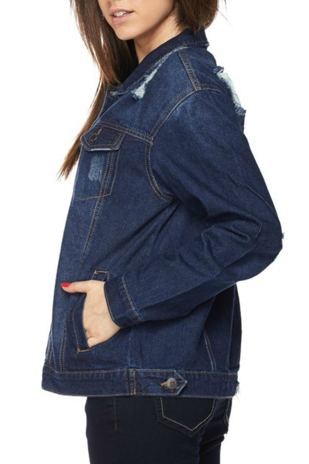Wax Jean Distressed Denim Jacket - Side Cropped Image