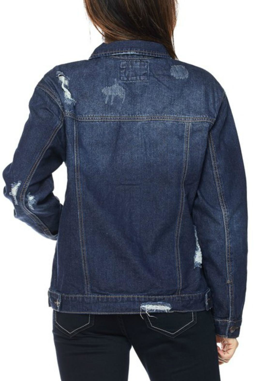 Wax Jean Distressed Denim Jacket - Back Cropped Image