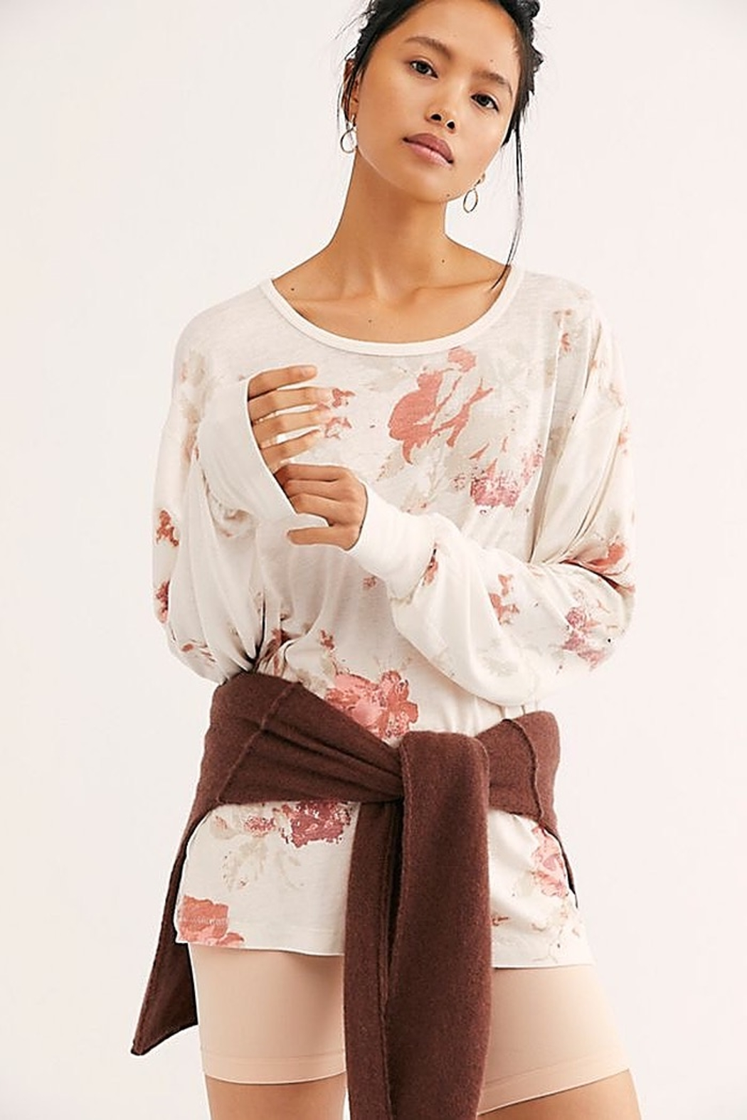 Free People We the Free Arielle Printed Long Sleeve Combo - Front Cropped Image