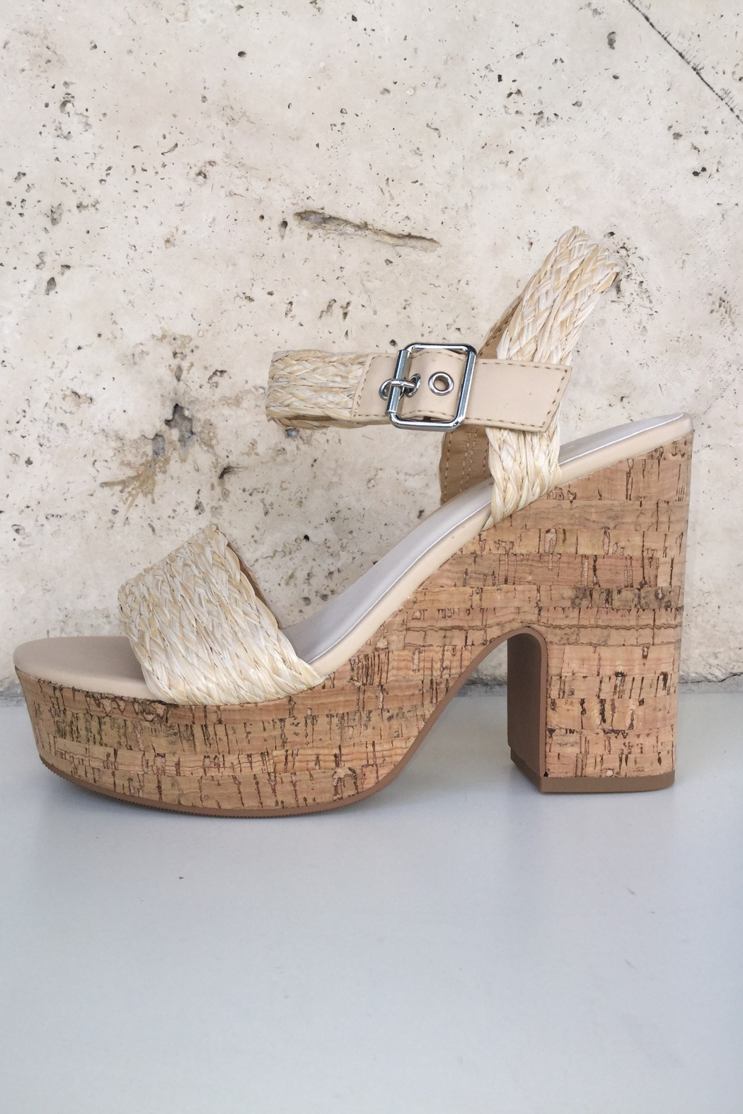 Soda Weaving With Cork Detail Heels - Side Cropped Image