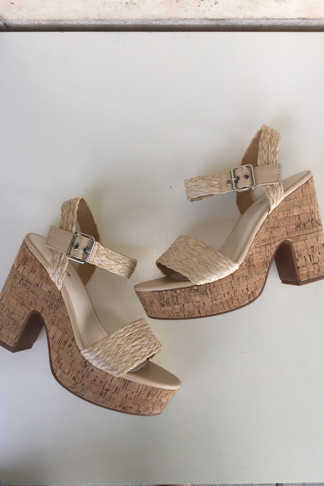 Soda Weaving With Cork Detail Heels - Front Cropped Image