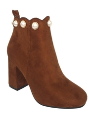 Weekday Suede Pearl Bootie - Front cropped