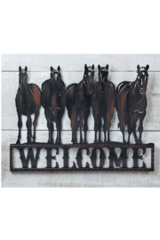 Giftcraft Inc.  Welcome Metal Horse sign - Product Mini Image