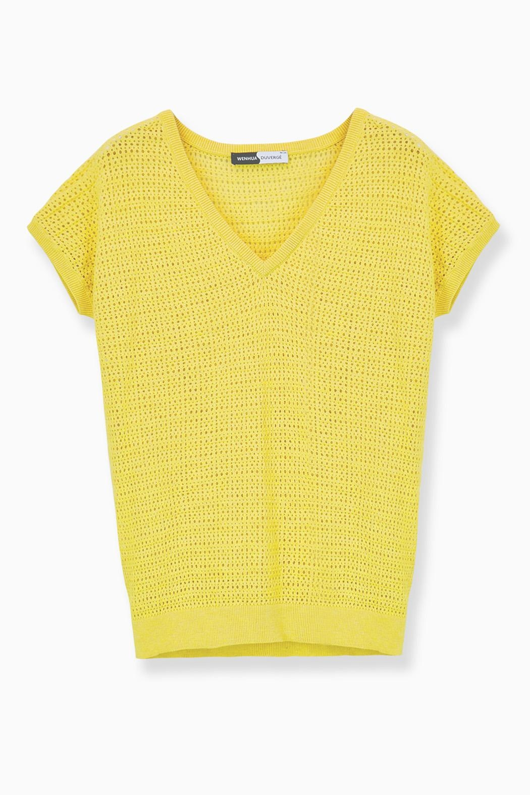 WENHUA DUVERGÉ Yellow Organic Cotton Sweater - Back Cropped Image