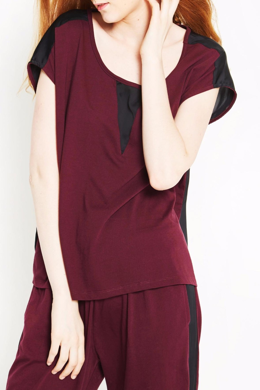 WENHUA DUVERGÉ Maroon Organic Cotton Tee - Front Cropped Image