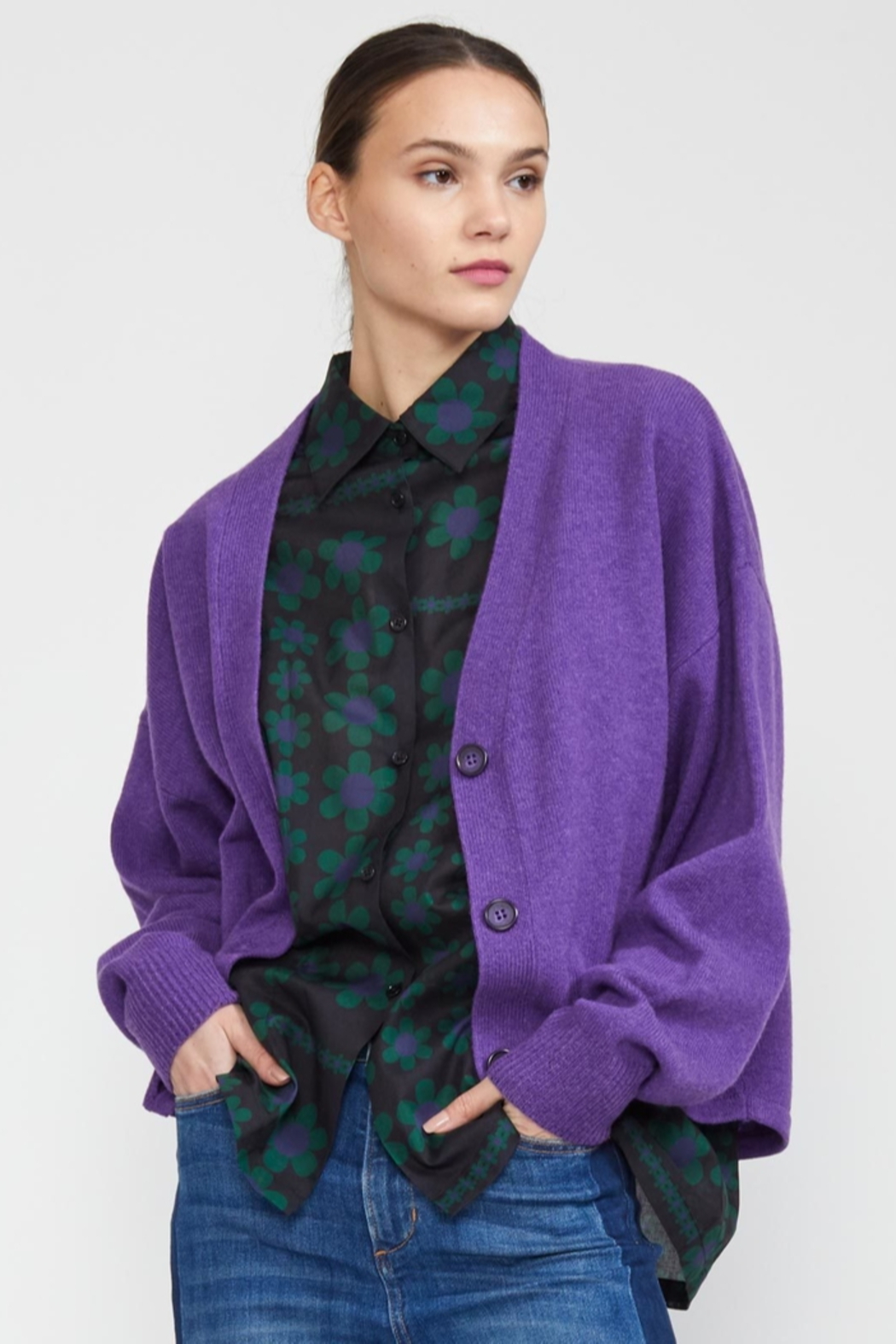 Cynthia Rowley Wesley Merino Cashmere Blend Cardigan - Side Cropped Image