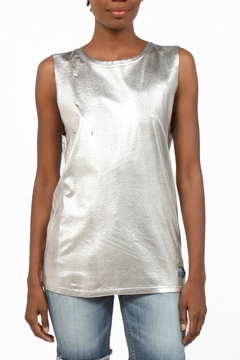 Shoptiques Product: Metallic Distressed Sleevless Top