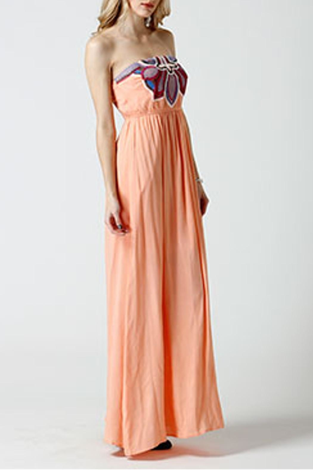 west 36th  Strapless Peach Dress - Front Full Image