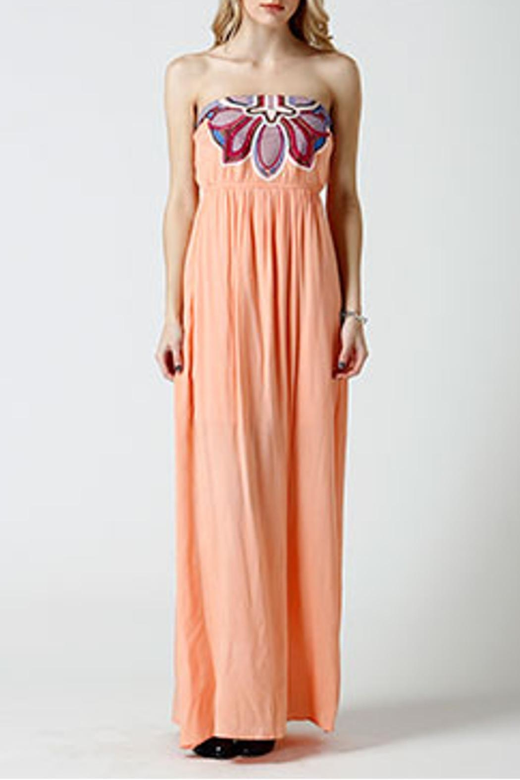 west 36th  Strapless Peach Dress - Front Cropped Image