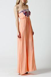 west 36th  Strapless Peach Dress - Front full body