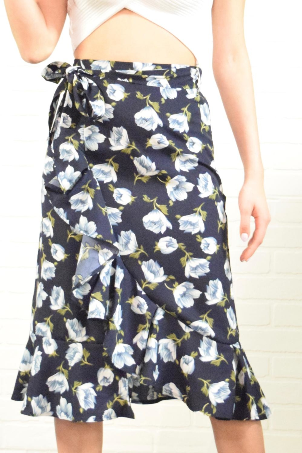 West Diva Floral Wrap Skirt - Front Cropped Image