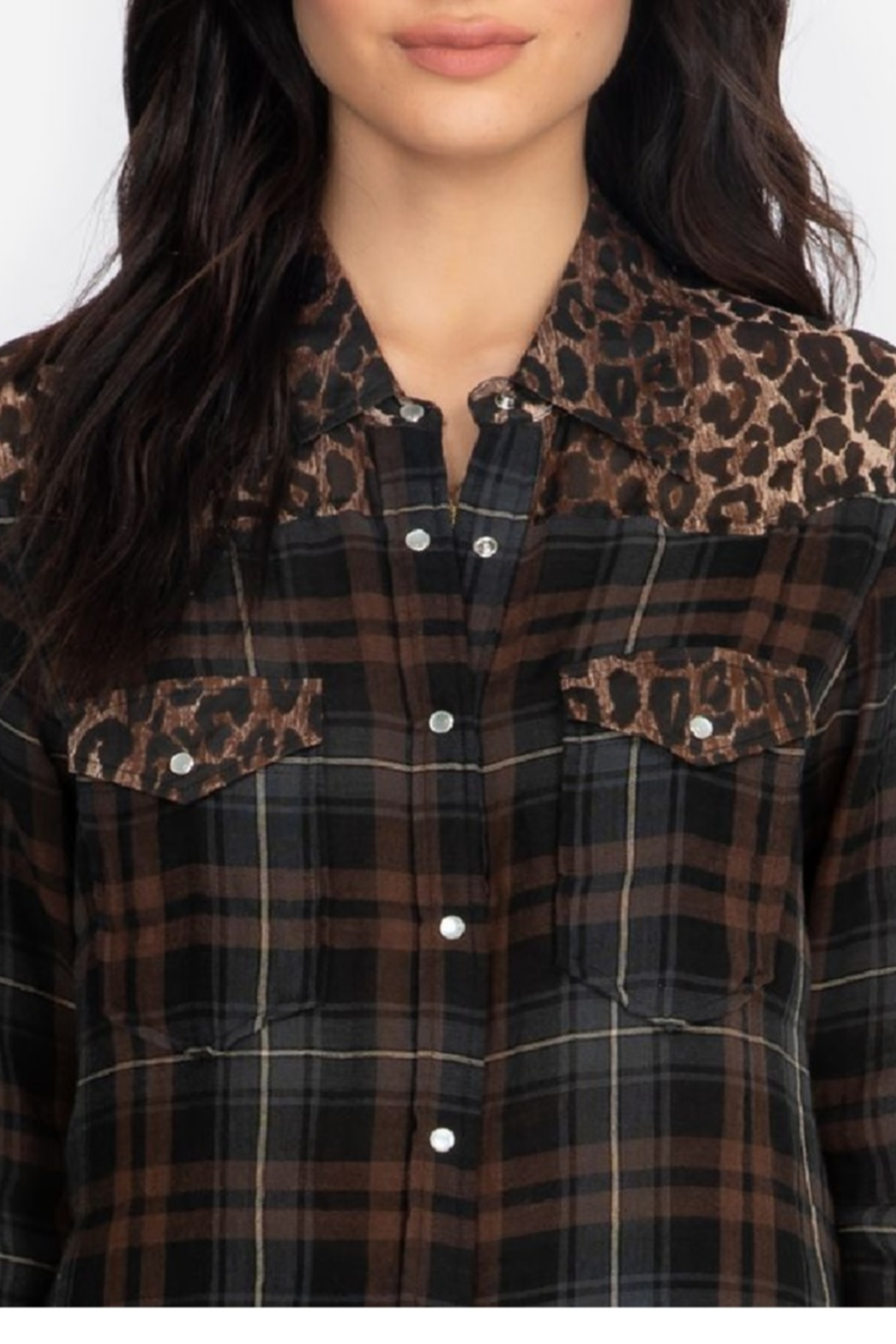 Johnny Was Western Shirt Plaid - Side Cropped Image