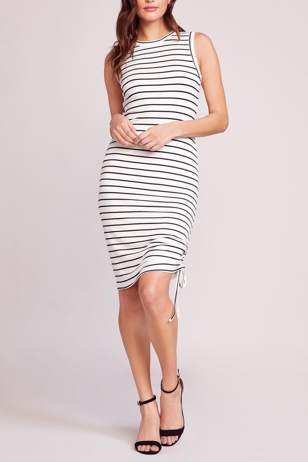 BB Dakota What's-The-Ruche Stripe Dress - Front Cropped Image