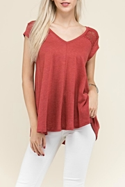 Crème Fraiche Crochet Inlay Top - Front cropped