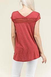 Crème Fraiche Crochet Inlay Top - Side cropped