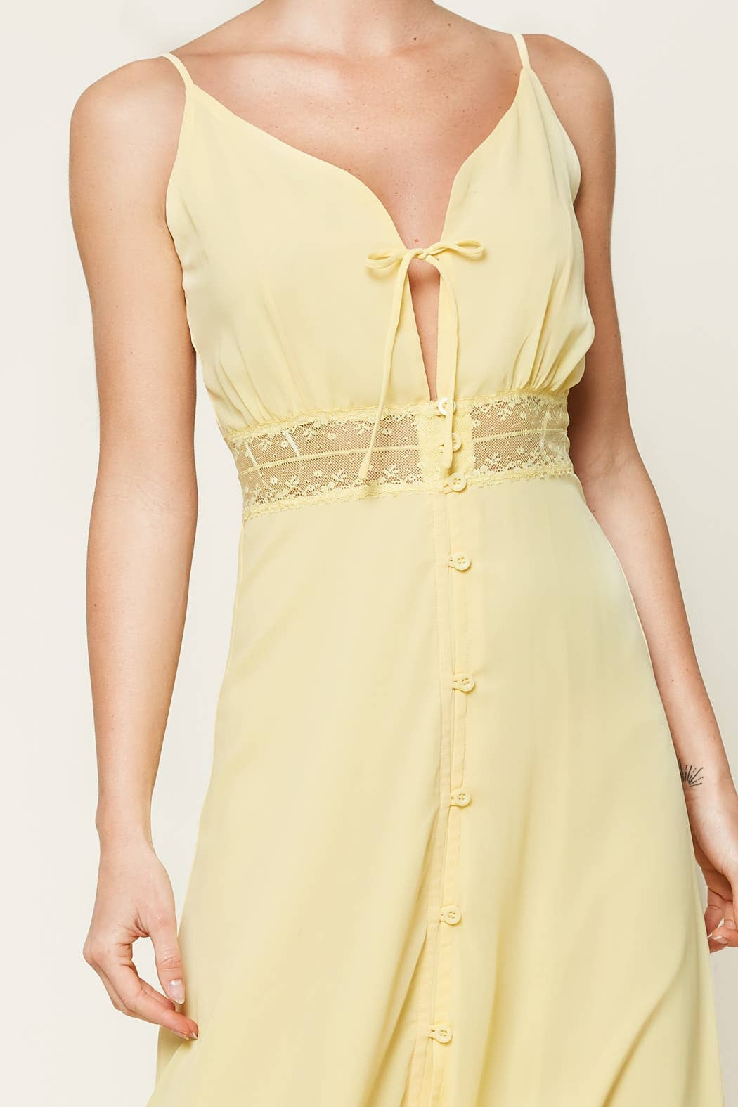 Sugarlips When In Rome Lace Trim Maxi Dress - Back Cropped Image