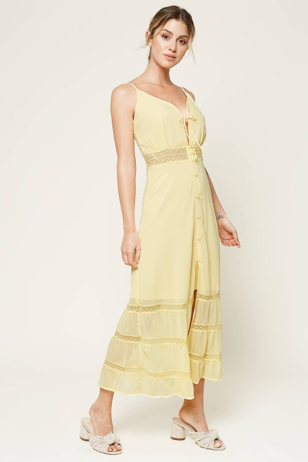 Sugarlips When In Rome Lace Trim Maxi Dress - Front Full Image