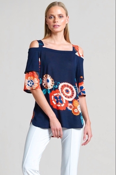 Clara Sunwoo Whimsical Flower Open Shoulder Teardrop Sleeve Top - Product List Image