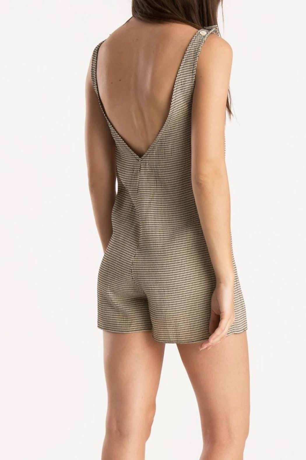 Whimsy and Row Gingham Kira Romper - Back Cropped Image