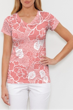 Shoptiques Product: Beaded Blooms Coral Tee