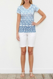 Whimsy Rose Faded Leaf Blue Top - Product Mini Image