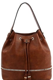 Bag Boutique Whipstitch Accent Drawstring Bucket/Hobo Bag - Product Mini Image