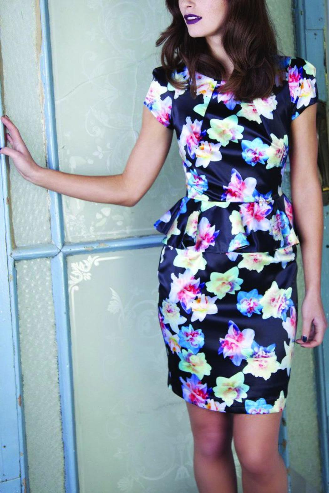 Whistle and Wolf Floral Peplum Dress - Main Image