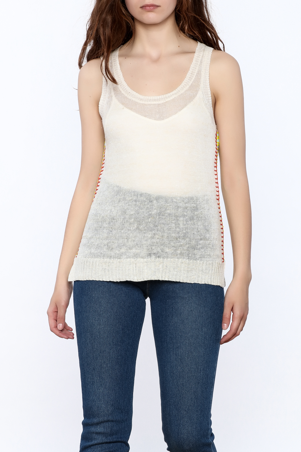 White + Warren Sheer Sleeveless Top - Front Cropped Image