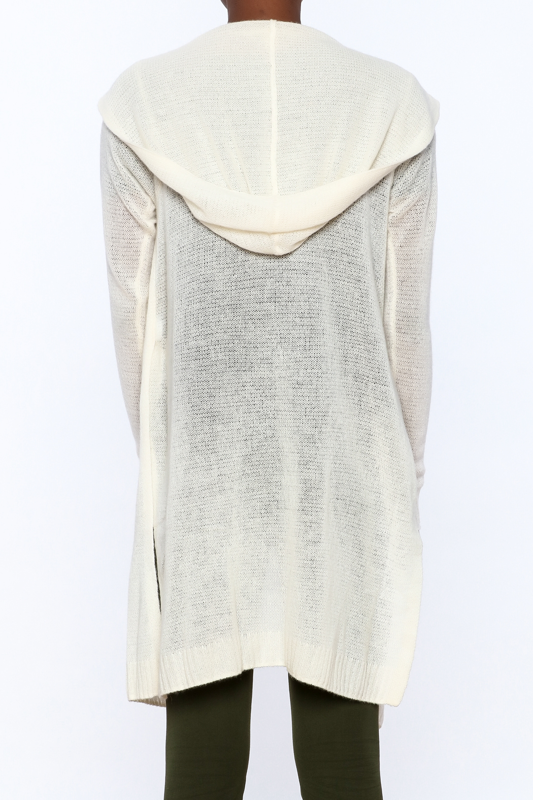 White + Warren White Cashmere Cardigan - Back Cropped Image