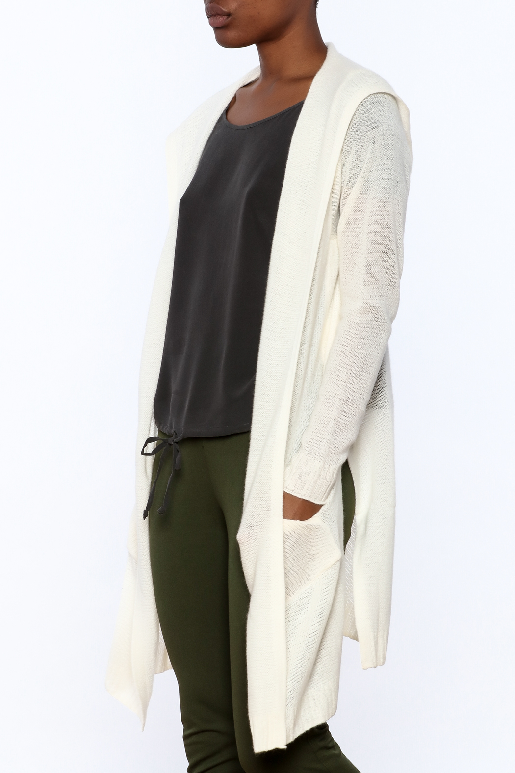 White + Warren White Cashmere Cardigan - Front Cropped Image
